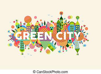 город, концепция, зеленый, иллюстрация