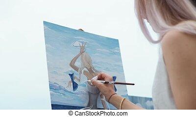город, краски, блондинка, женщина, пляж, молодой, открытый, воздух, картина