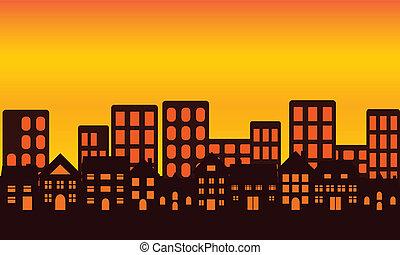 город, линия горизонта, в, закат солнца