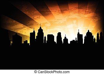 город, линия горизонта, задний план