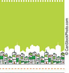 город, линия горизонта, зеленый, иллюстрация