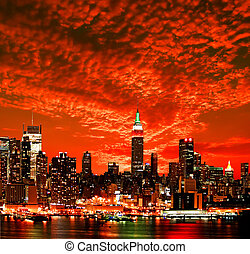 город, линия горизонта, йорк, новый, midtown