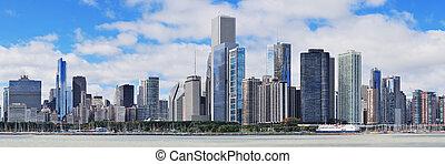 город, линия горизонта, чикаго, городской, панорама