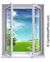 город, окно, открытый