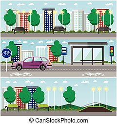 город, пейзаж, with, дорога, and, парк, концепция, вектор, banners., автобус, стоп, автомобиль, на, , street.