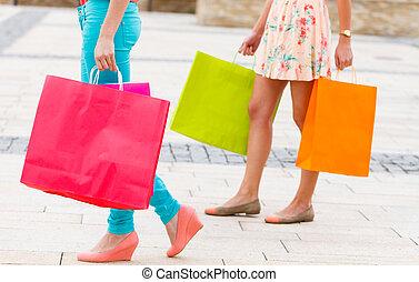 город, после, поход по магазинам, steps