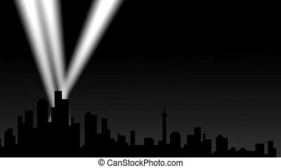 город, прожектор