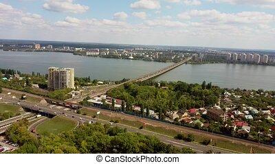 город, река, посмотреть, птичий глаз, день, облачный, summer.