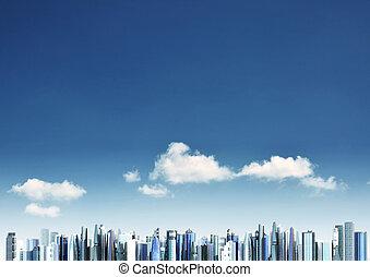 город, современное, задний план