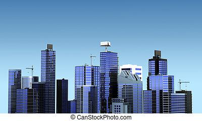 город, современное, иллюстрация