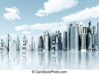 город, футуристический, задний план