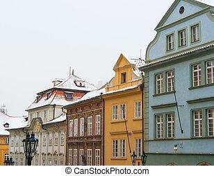 город, houses, прага, старый
