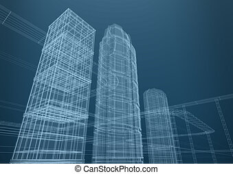 город, of, skyscrapers, в, shapes