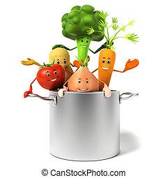 горшок, полный, of, vegetables