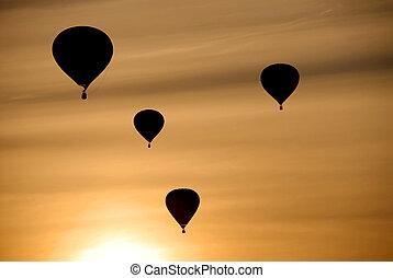 горячий, воздух, balloons