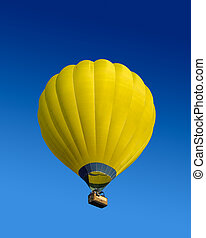 горячий, воздушный шар, желтый, воздух