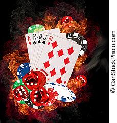горячий, покер, игра, концепция