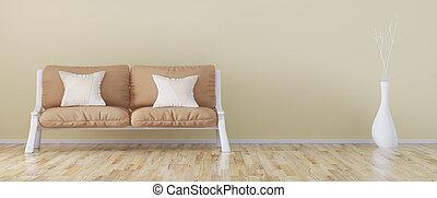 гостиная, диван, современное, оказание, дизайн, интерьер, 3d