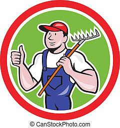 грабли, вверх, thumbs, держа, фермер, мультфильм, садовник