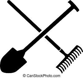 грабли, лопата, crossed