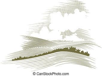 гравюра на дереве, skyscape