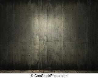 гранж, задний план, of, бетон, комната