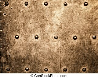 гранж, золото, коричневый, металл, пластина, rivets, screws, задний план, текстура