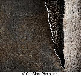 гранж, металл, задний план, with, порванный, edges