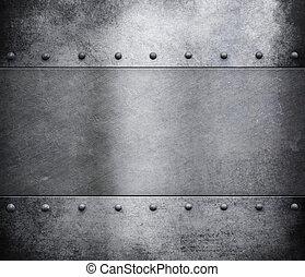 гранж, металл, задний план, with, rivets
