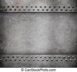 гранж, металл, задний план, with, rivets, 3d, иллюстрация