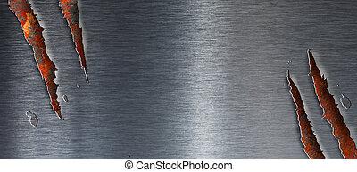 гранж, над, порванный, металл, текстура, ржавый, задний план