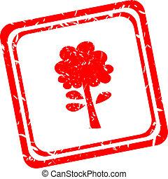 гранж, печать, символ, дерево, isolated, белый, красный