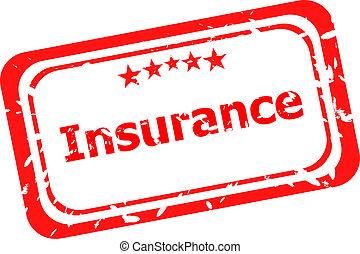 гранж, печать, isolated, белый, страхование, красный