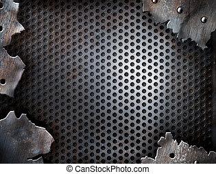 гранж, трещина, металл, задний план, with, rivets