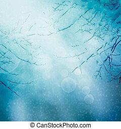 граница, зима, задний план, природа