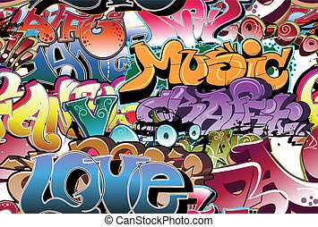 граффити, городской, задний план, бесшовный