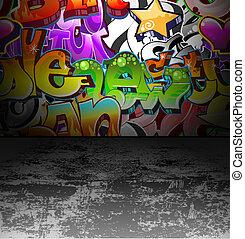 граффити, стена, городской, улица, изобразительное...