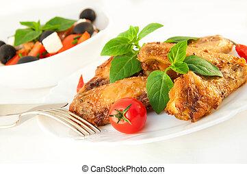 гриль, помидор, бэзил, курица, wings