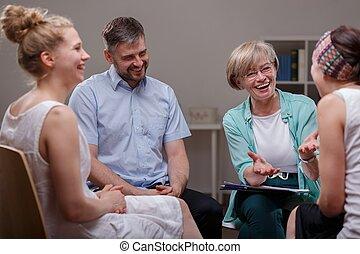 группа, в течение, встреча, with, терапевт
