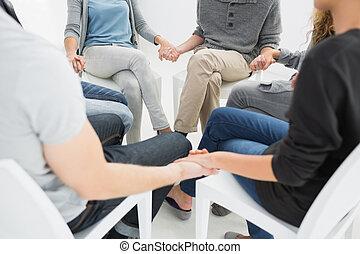группа, терапия, в, сессия, сидящий, в, круг