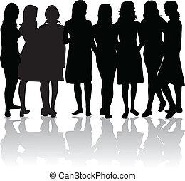 группа, of, женщины, -, черный, silhouettes
