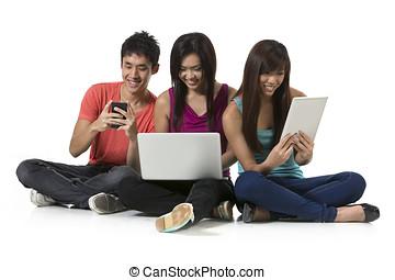 группа, of, китайский, friends, с помощью, современное, technology.