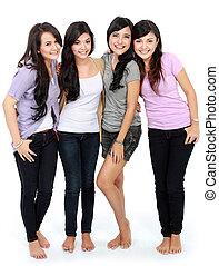 группа, of, красивая, женщины, улыбается