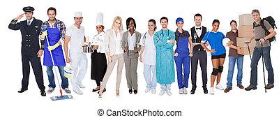 группа, of, люди, representing, разнообразный, профессии