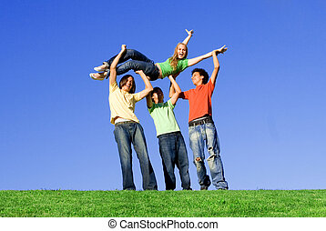 группа, of, разнообразный, teens