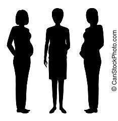 группа, of, три, беременная, женщины, черный, silhouettes., будущее, mothers, community.