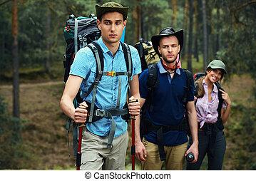 группа, of, туристы
