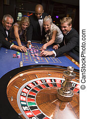 группа, of, friends, игорный, в, казино