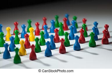 группа, of, multi-colored, люди, к, представлять, социальное, сеть, разнообразие, multi, культурный, общество, команда, работа, совместность