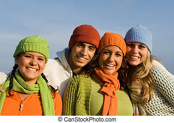 группа, teenagers, раса, молодежь, смешанный, teens, kids, или, счастливый